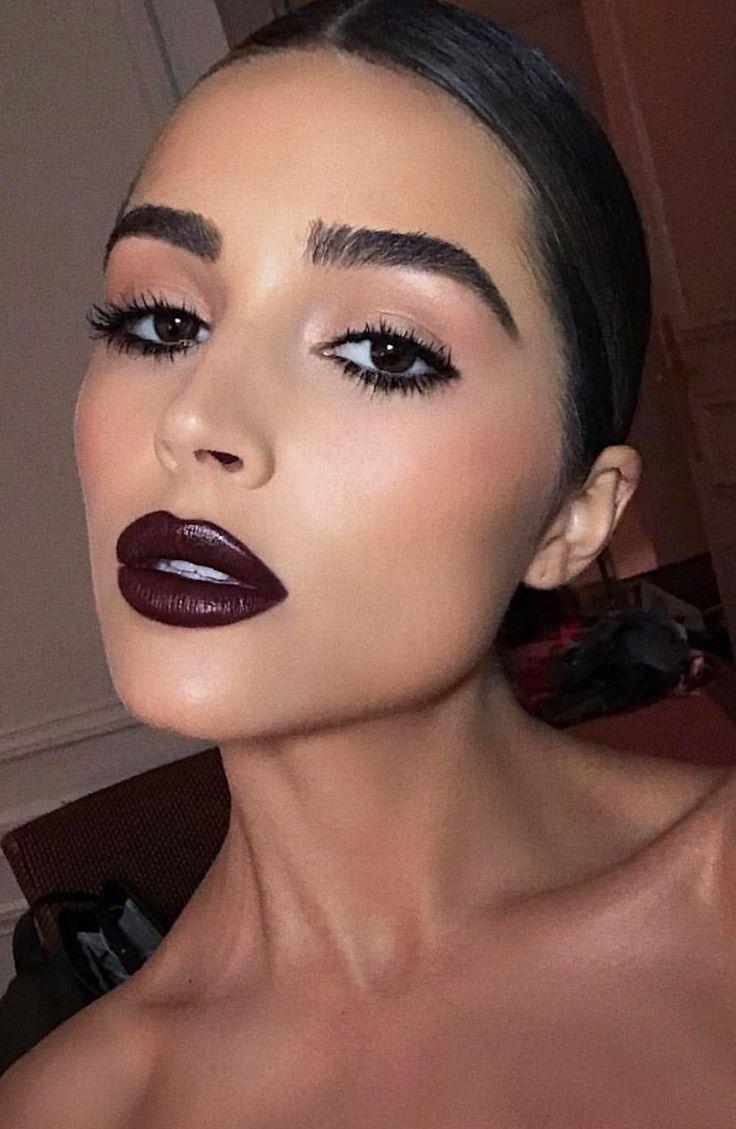 Pinterest: DeborahPraha ♥️ olivia culpo dark vampy lipstick and eyeliner #oliviaculpo #makeup
