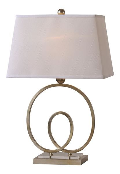 A unique body with base crystal accent and finished with a white silk shade and matching finial.