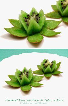 1 sculpture de fruit et légume: Comment Faire une Fleur de Lotus en Kiwi en 1 Minute
