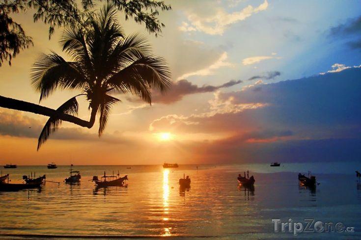 Fotka, Foto Západ slunce nad ostrovem Ko Tao (Thajsko)