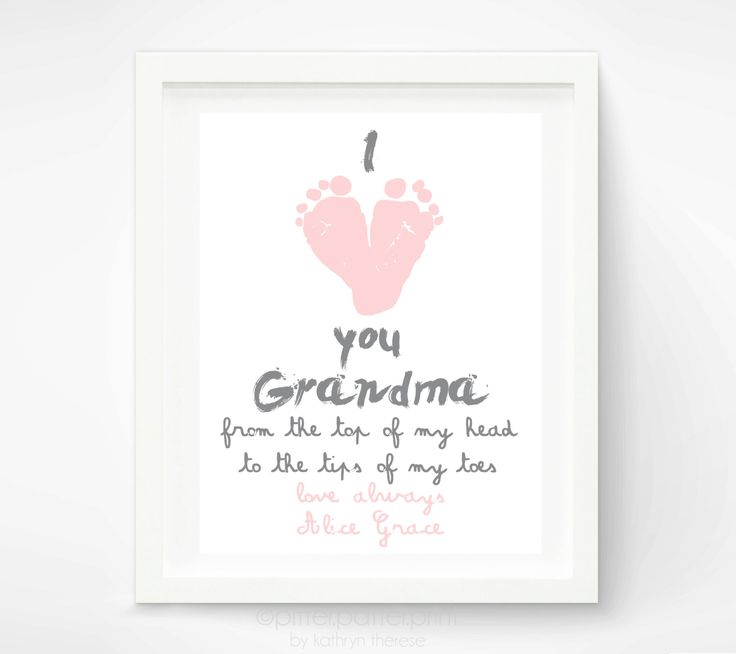 Personalized Mother's Day Gift for Grandma - I Love you Grandma Baby footprint Art - Gift for Grandmother - Gift for New Grandma. $30.00, via Etsy.