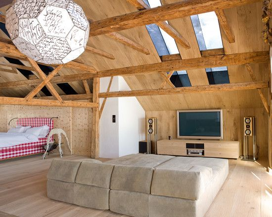 Soft Big Sofas Lie Down Contemporary Family Room: Contemporary Home Theatre  With Wooden Slopping Ceiling