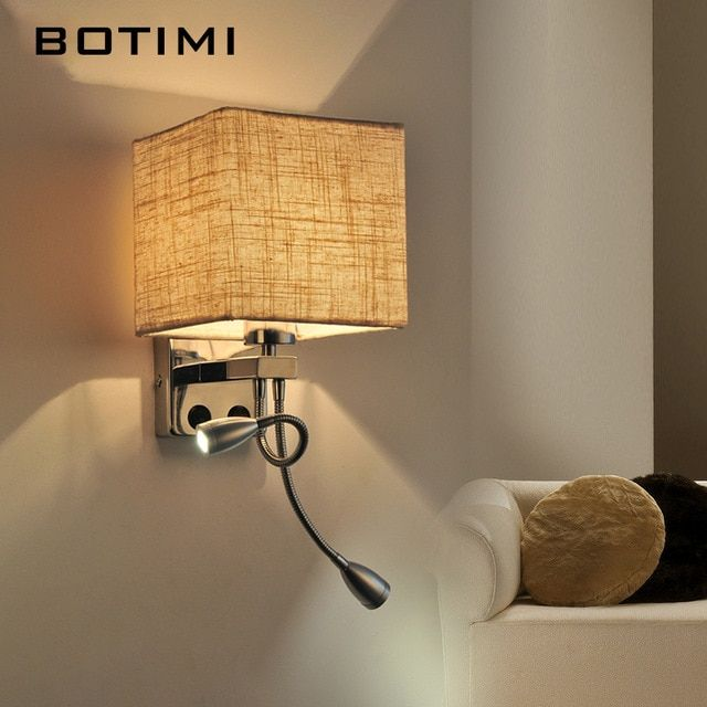 Botimi Modern Led Wall Sconce With Cloth Shade Warm White Hotel Bedside Lights Simple Practical Home Book L Wall Lamp Bedside Lighting Lighting Design Interior