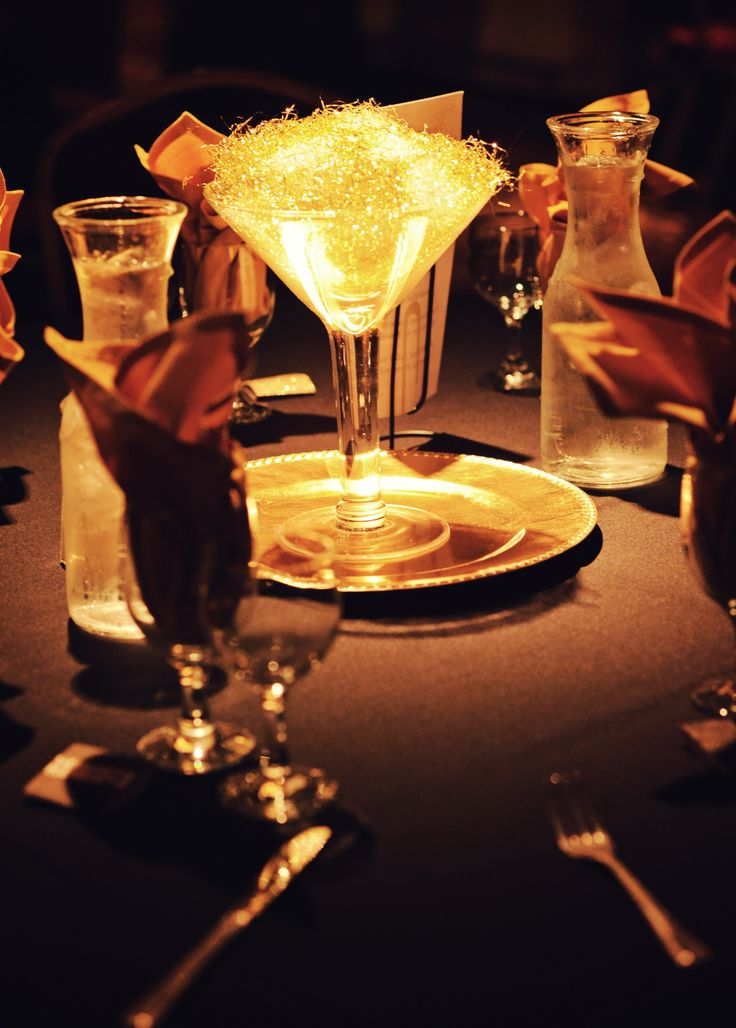 Giant martini glass centerpiece gold vase filament and