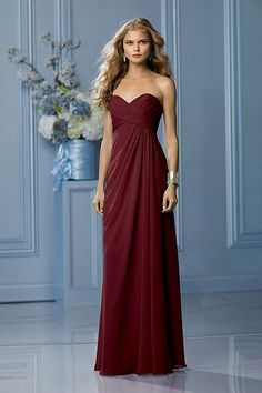 Merlot Chiffon A-line Long Bridesmaid Gown lace - Google Search
