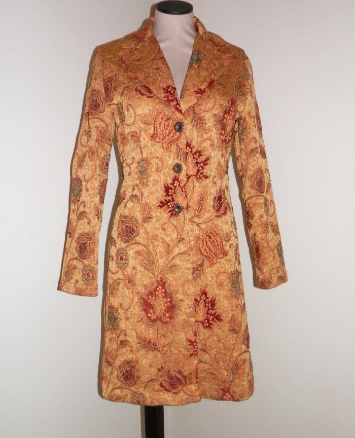 CAbi Size 6 Gold Brocade Tapestry Floral Guinevere Coat Long Jacket #179 #CAbi #BasicCoat