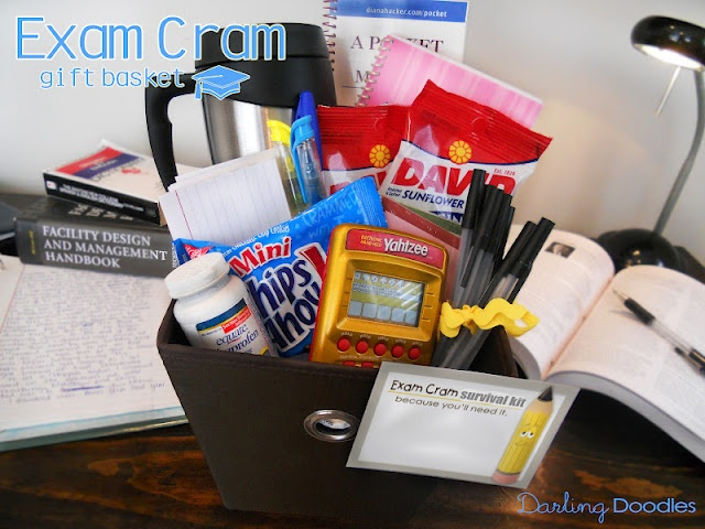 great blog for gift baskets!  Exam Cram basket, pens, highlighters, note book, snacks, index cards, advil, coffee mug (could do water bottle, or person's favorite beverage), fun game for break.