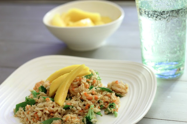 The Shea's: Ginger Fried Rice with Shrimp and Mango