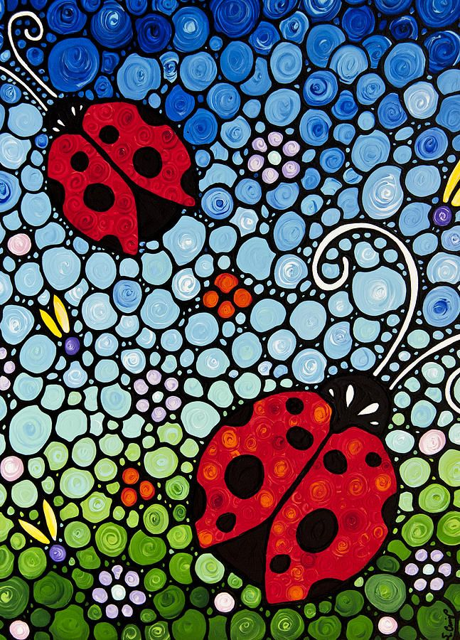 Joyous Ladies Ladybugs Painting  - Joyous Ladies Ladybugs Fine Art Print