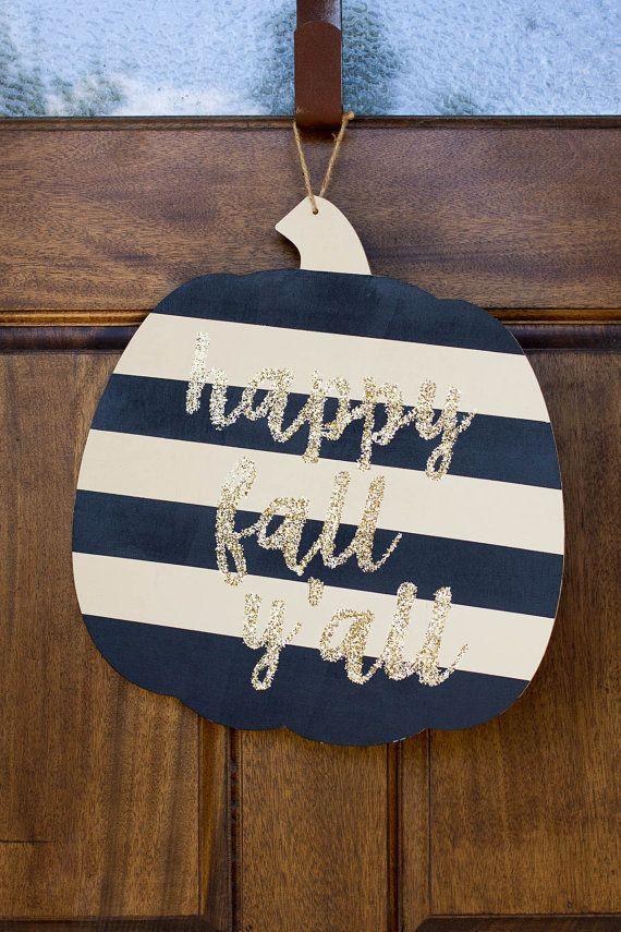 Fall Wooden Door Hanger Wooden Sign Happy Fall by MarkedbyMonica