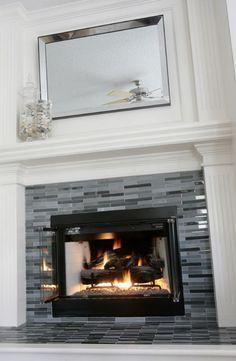 Updated Fireplace Grey Amp Black Glass Tile Decor Tile