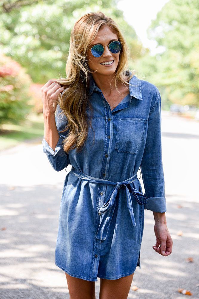 Shop our Tie Waist Chambray Shirt Dress in Medium Wash. Pair with booties and a crossbody bag for a chic look. Always free shipping on all US orders.