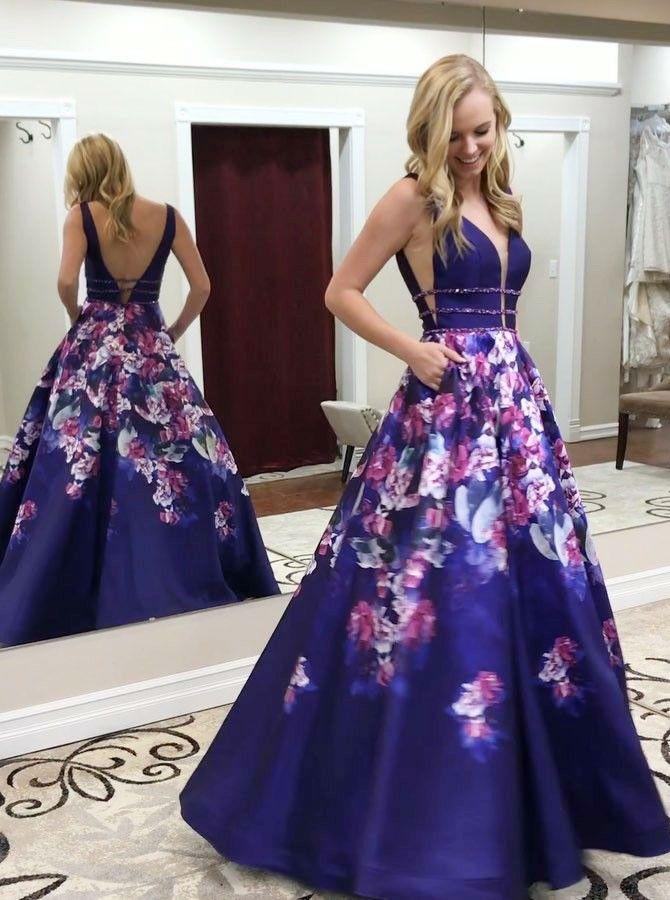A-Line Deep V-Neck Sweep Train Royal Blue Printed Satin Prom Dress with  Pockets ae42e7f9e