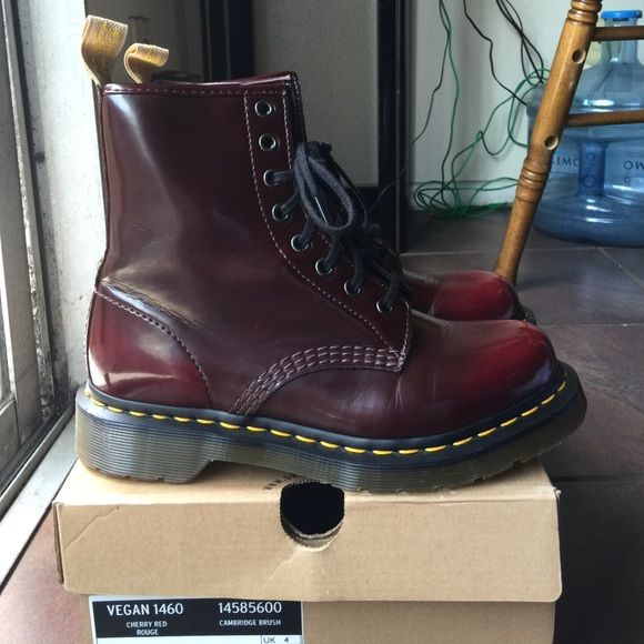 Vegan 1460 Cherry Red Women's size 6 Doc Marten Have only been tried on. Brand new vegan cherry red women's doc martens. Doc Marten Shoes Lace Up Boots