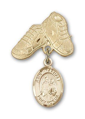 ReligiousObsession's Gold Filled Baby Badge with St. Raphael the Archangel Charm and Baby Boots Pin -- To view further for this item, visit the image link.