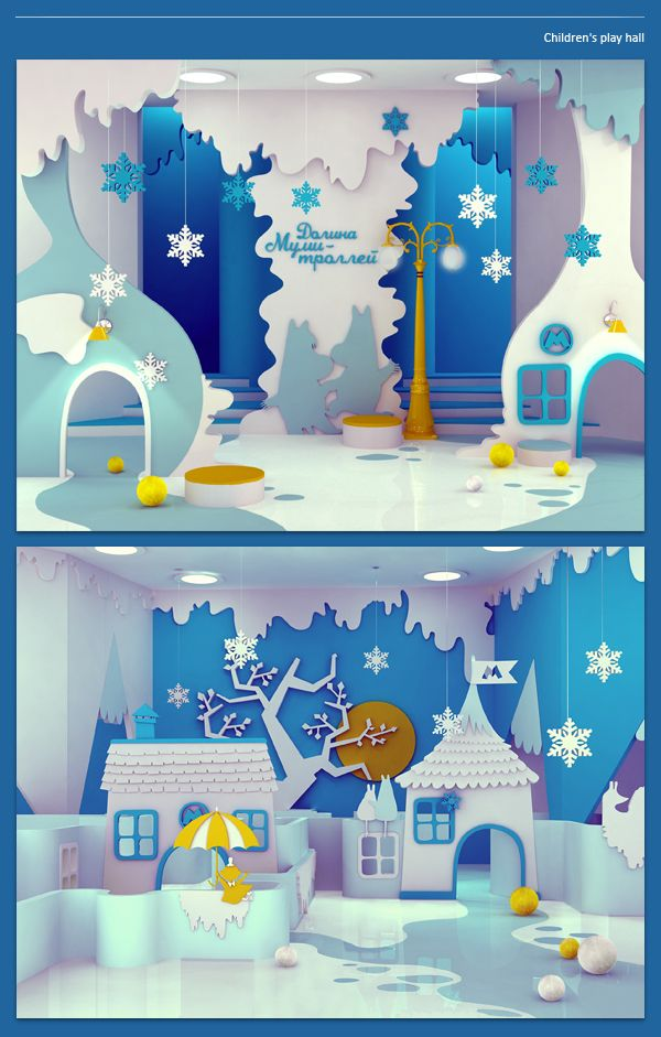 Play area based on the Moomin books. Interesting to see how the narrative develops into an environment, working with a limited colour palette. There is a sense of exploration and play. Tangible, tactile elements are important to allow the young audience to interact and explore. Created by Maria Yasko.