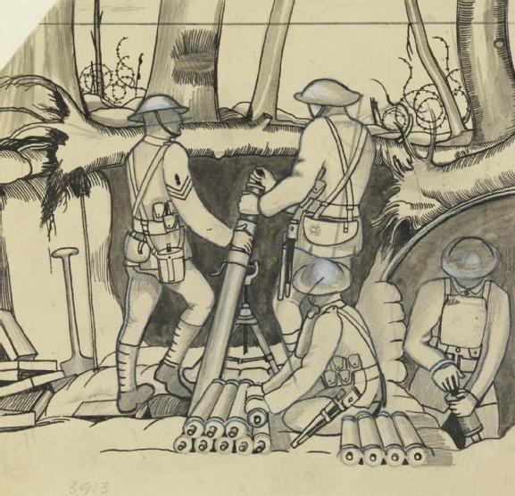 Study Trench Mortar Firing Evening No 3910 (Art.IWM ART 3913) John Nash RA