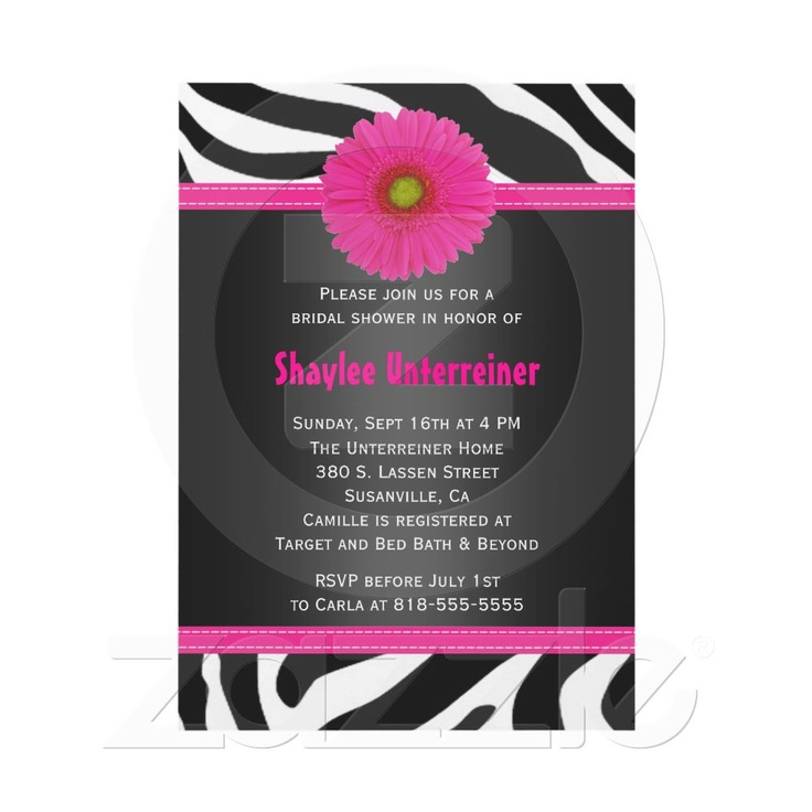 pink black and white bridal shower invitations%0A Black and Pink  Zebra Bridal Shower Invitation