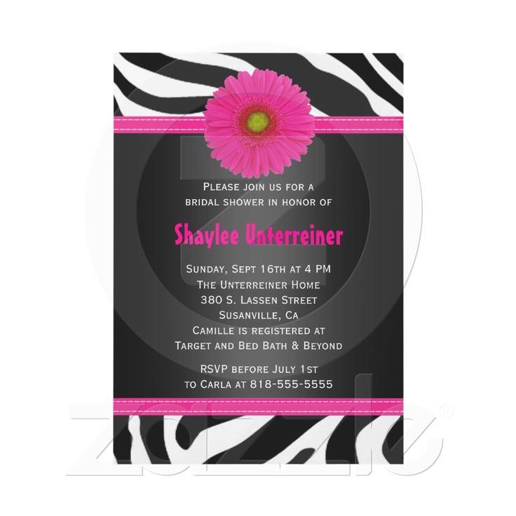 Black and Pink, Zebra Bridal Shower Invitation $1.35ea