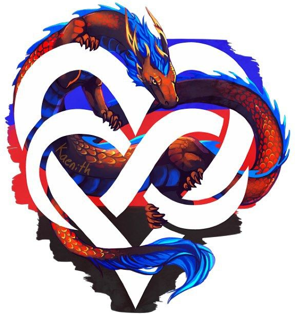 This dragon symbolizes Polyamorous Pride.  Polyamory is the nonpossessive honest responsible and ethical philosophy and practice of loving multiple people simultaneously. Being polyamorous means having multiple sexually or romantically committed relationships at the same time with the consent of all partners involved.