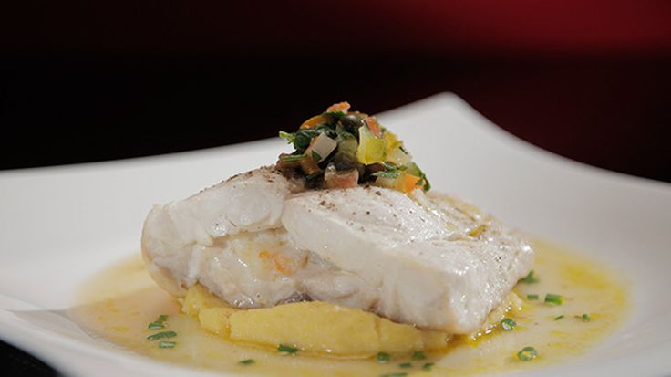 Stuffed Blue-Eye Trevalla on Soft Polenta with Warm Salsa Verde