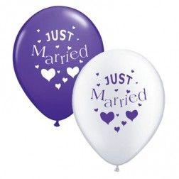 10 paarse en witte ballonnen 'Just Married'