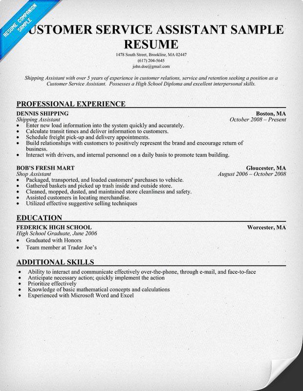 Customer Service Assistant Resume Sample Resumecompanion