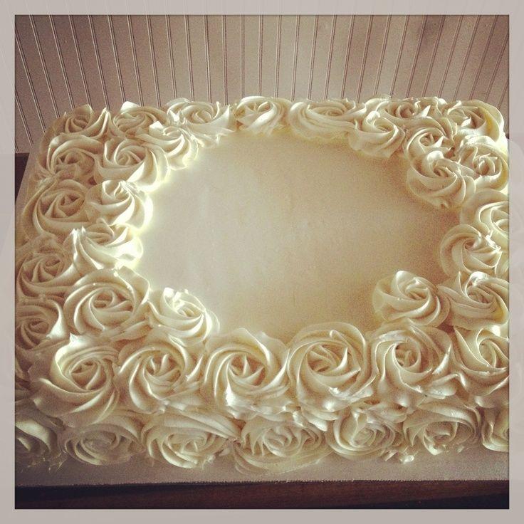 Buttercream rose sheet cake