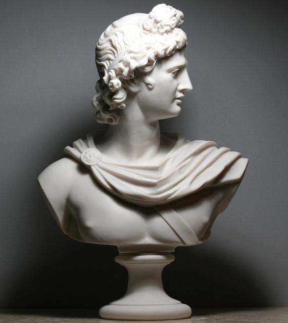 Apollo Greek Roman God Bust Head Statue Cast Marble Sculpture Etsy Head Statue Marble Sculpture Statue
