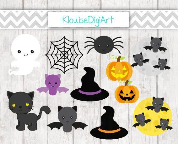 Cute Halloween Characters Digital Clipart by KlouiseDigiArt