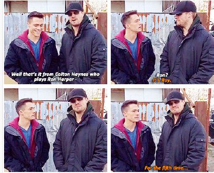 Stephen Amell Colton Haynes #Arrow #Oliver #Roy