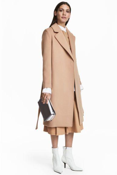 Casaco comprido com lã - Camel - SENHORA | H&M PT