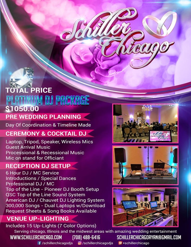 Schiller Chicago Wedding & Event DJS NEWEST Platinum DJ Package! The Midwest's Ultimate All Inclusive Wedding DJ Package! Includes, Planning, Ceremony, Cocktail Hour, Reception & Up lighting all in one Special Discounted Price! PM or Tag a bride to be for a great discount!