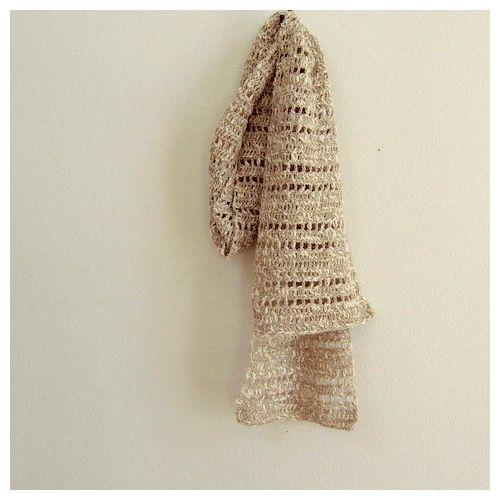 ストール(くさり編みと長編み・ボーダー柄)
