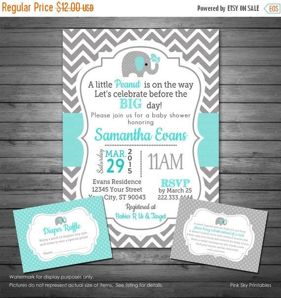 SALE Elephant Aqua Baby Boy Shower Invitation Digital File, Elephant, Aqua and Gray, Boy Elephant Shower, FREE Diaper Raffle and Book Reques