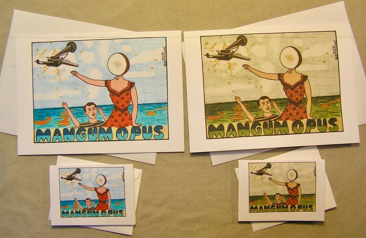 """Neutral Milk Hotel All-Occasion Greeting Card. """"Mangum Opus"""". Regular size card and mini-version. A Lunar Eclipse cartoon greeting card. by ALunarEclipseCards on Etsy"""