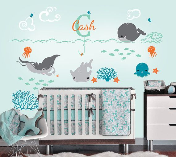 Under the Sea Decal with Monogram Custom Name Vinyl Decal, Ocean Friends Nursery Wall Decal for a Nautical Nursery, Kids or Childrens Room on Etsy, $59.00