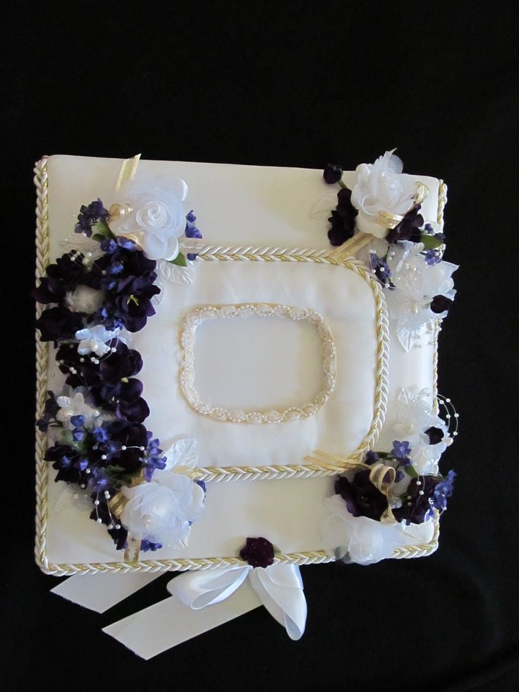 50th Wedding Anniversary White Satin Trimmed In Gold Cord Flowers And Colors Are