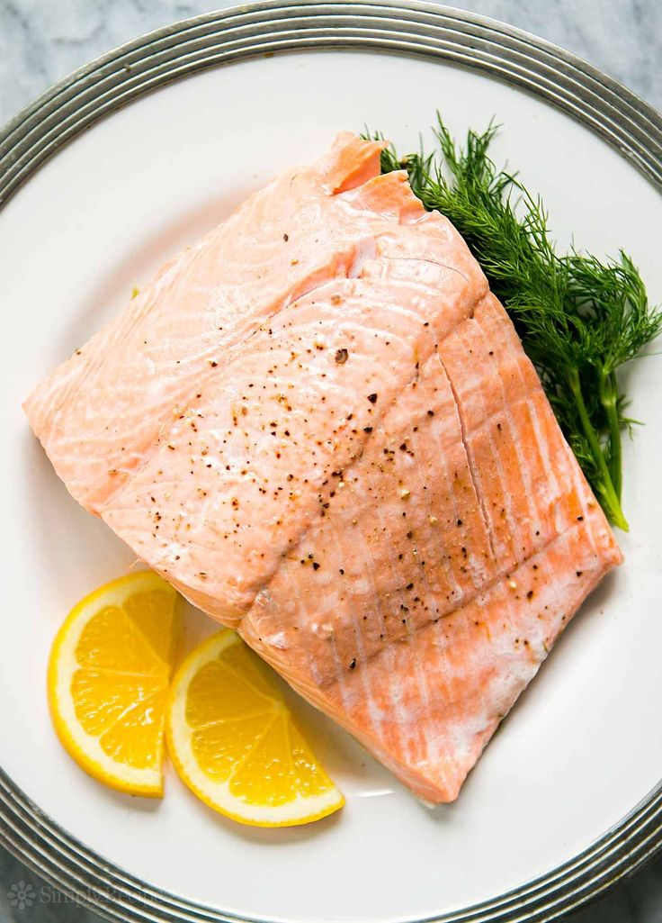 Poached Salmon ~ Poach delicious salmon steaks or fillets in only 15 minutes…