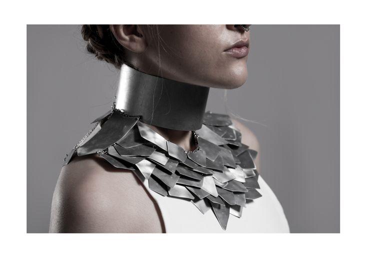 Jewellery - Woman's Armor   Bachelor of Fine Arts in Scultpure Aleksandra Górecka / SAVVY Jewellery /   https://www.facebook.com/SAVVYjewellery   Bachelor Thesis / University of Fine Arts / Poznań, Poland / 2015 #armor #jewellery #jewelry #steel #feathers #metal #necklace