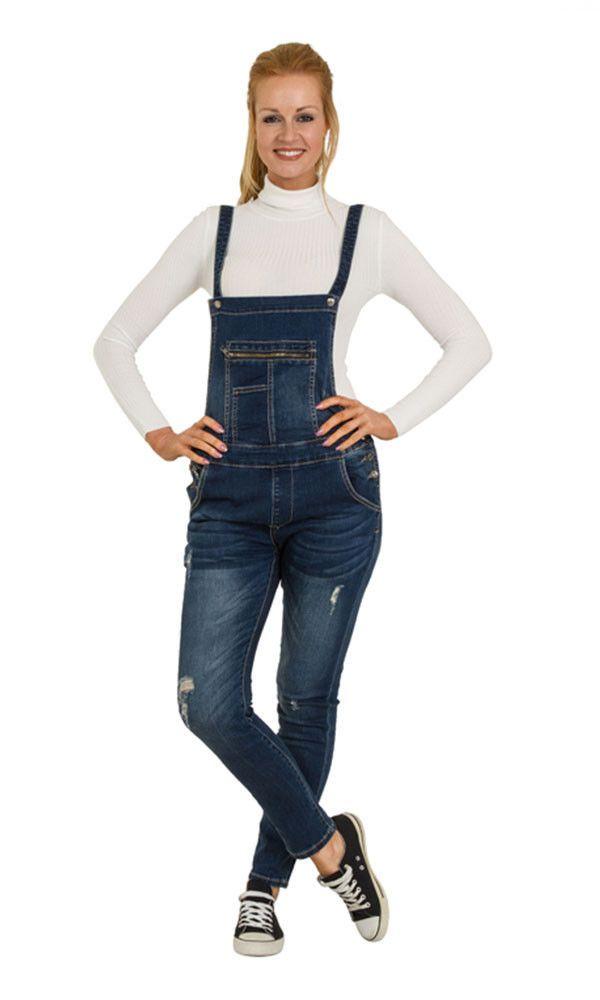 Distressed Denim Bib Overalls - Skinny Fit Ladies Dungarees Abrasion Detail