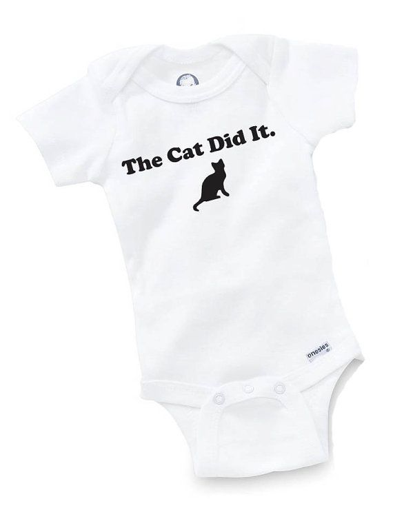 The Cat Did It Onesie Bodysuit Baby Shower Gift by GopherKidz, $8.99