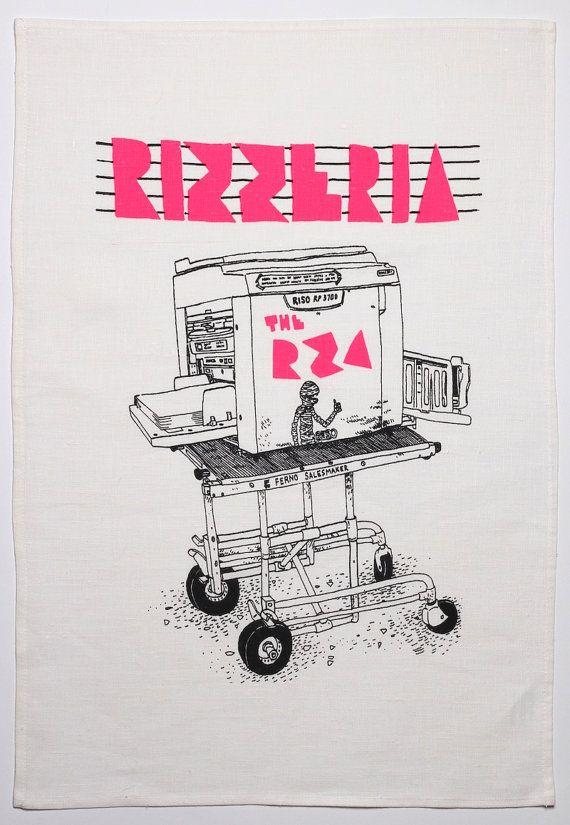 Tea towel  the Rizzeria stencil press  illustration by Leigh Rigozzi, $18.00
