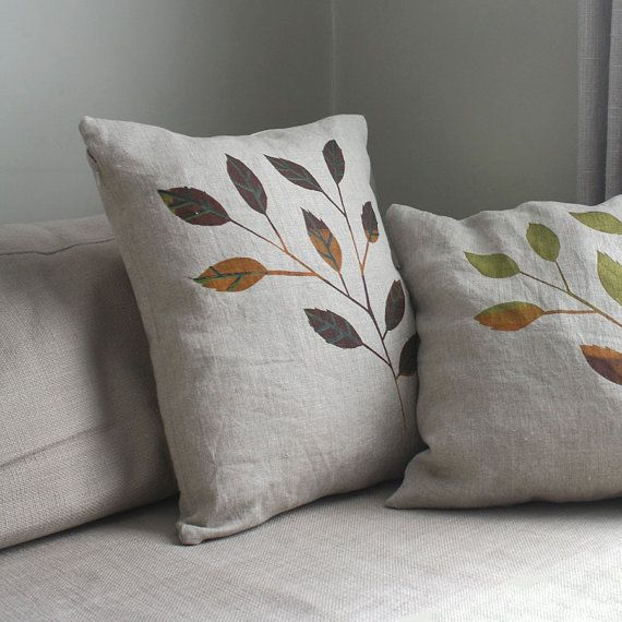 Autumn Linen Decorative Pillow Covers. Screen Printed Leaves on Natural Linen. Earth Tones, Red, Green, Brown.