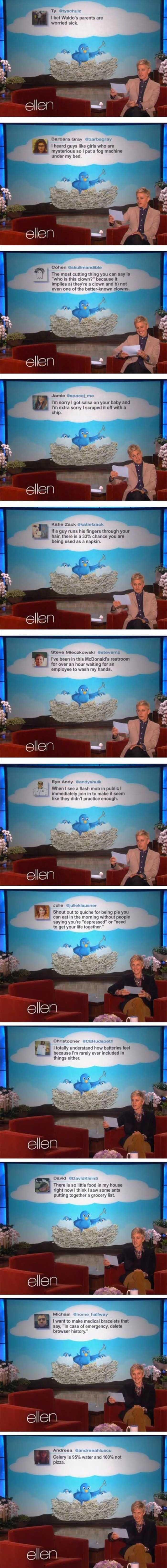 Ellen's Favorite Tweets funny quotes tv quote jokes tv shows lol funny quote funny quotes funny sayings joke humor ellen funny pictures twitter funny images tweets