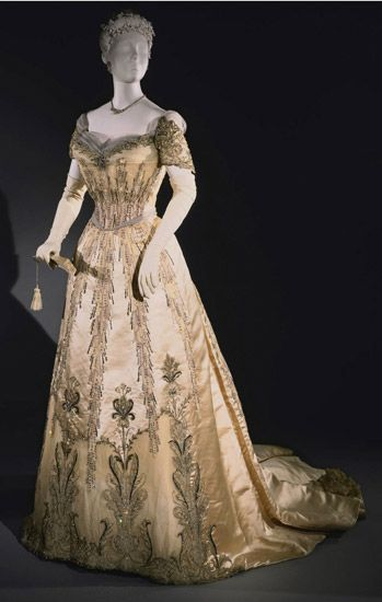 Edwardian silk satin and silk tulle evening dress with lace, tulle appliqué, rhinestones and sequins; silk chenille and metallic thread embroidery [American], c. 1907