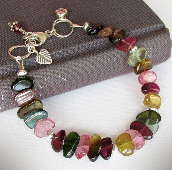 Multicolor Tourmaline Bracelet, Sterling Silver, Adjustable Length