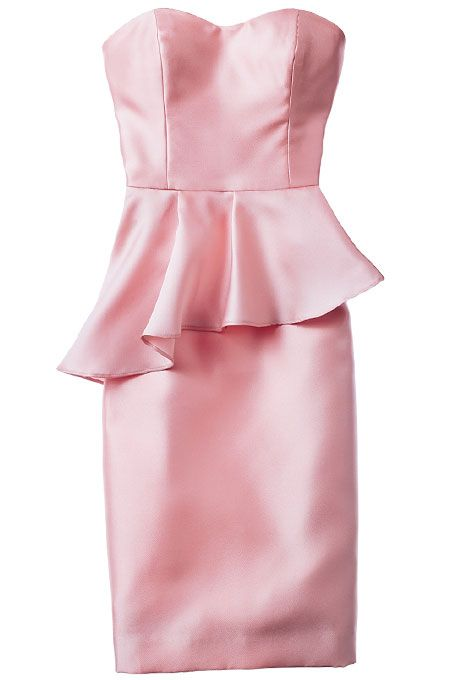 Brides.com: . Blush peplum bridesmaids' dress, $220, Jim Hjelm Occasions  Browse more Jim Hjelm Occasions bridesmaid dresses.