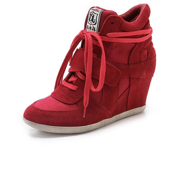Ash Bowie Wedge Sneakers - Coral/Coral ($137) ❤ liked on Polyvore featuring shoes, sneakers, hidden wedge heel sneakers, wedge trainers, sneaker wedge shoes, wedged sneakers and wedge heel sneakers
