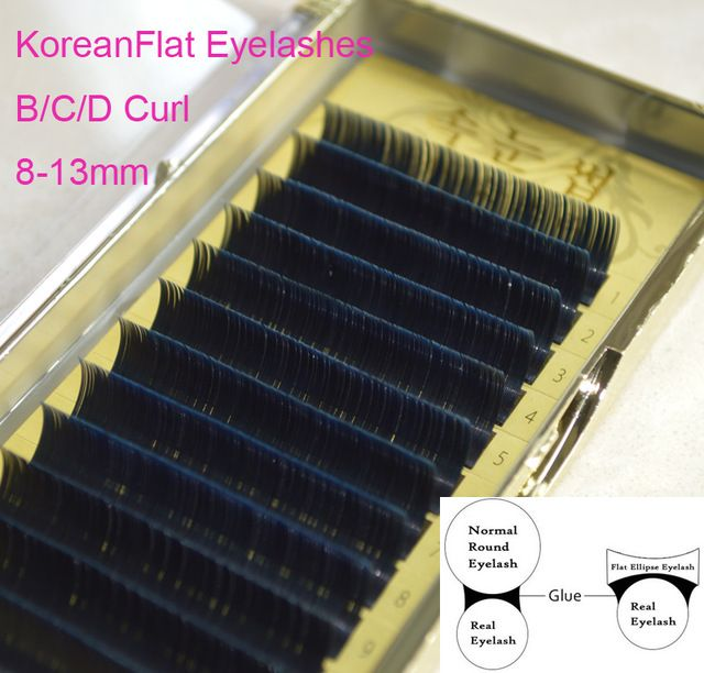Corea Seda Individuales Fasle Elipse Plana Extensión de Pestañas de Visón, 3D Pestañas Naturales 0.15/0.2 8-13mm B/C/D Rizo